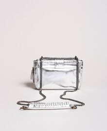 Laminated leather Rebel shoulder bag Silver Woman 191TO8640-04