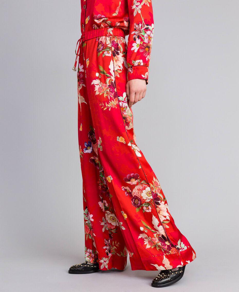 Pantalon palazzo en satin floral Imprimé Jardin Rouge Femme PA829Q-02
