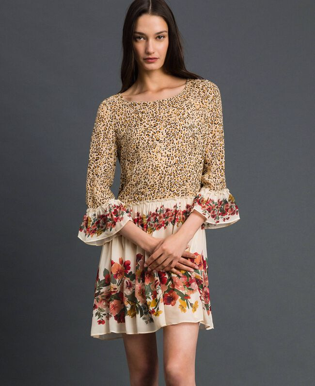 Dress with floral and animal print Leopard Print Woman 192TP2741-01