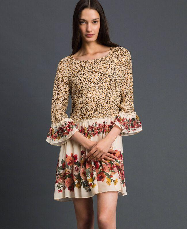 Robe avec imprimé floral et animalier Imprimé Léopard Femme 192TP2741-01