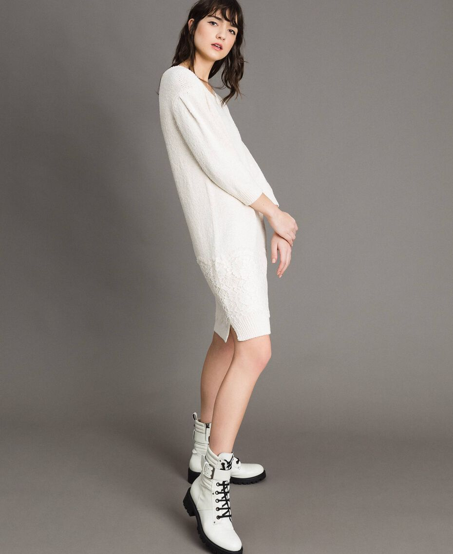 Robe en maille avec dentelle Blanc Neige Femme 191TP3200-01