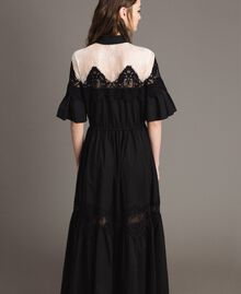Poplin long shirt dress with lace Black Woman 191TT2122-05