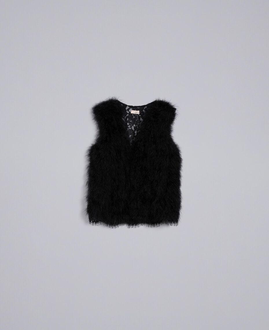 Chaleco de plumas y encaje de macramé Negro Mujer SA829A-0S