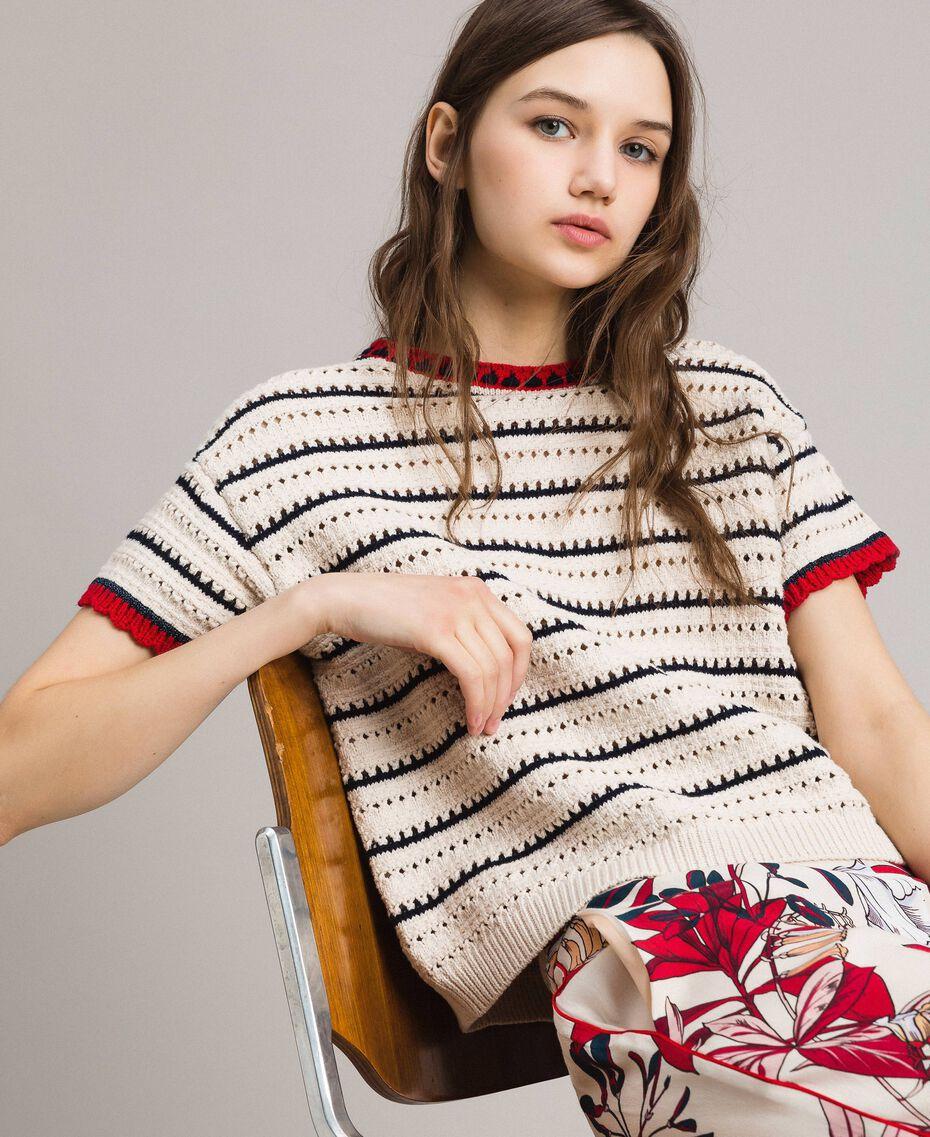 """Pullover mit Durchbruch-Streifenmuster Multicolour Ecru / """"Poppy"""" Rot / Blue Shadow Frau 191ST3092-01"""