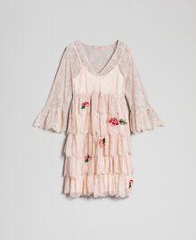 Robe en dentelle de Valenciennes avec broderies florales Noir Femme 192TP2586-0S
