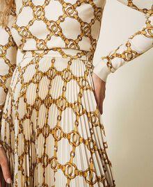 Jupe plissée avec imprimé de chaînes Imprimé Grande Chaîne Ivoire / Or Femme 202TT2212-04