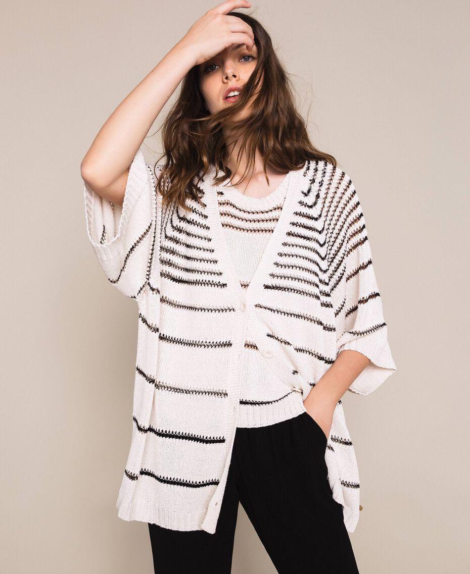 Maxi cardigan avec rayures contrastées Rayé Blanc Antique / Noir Femme 201TT3130-02