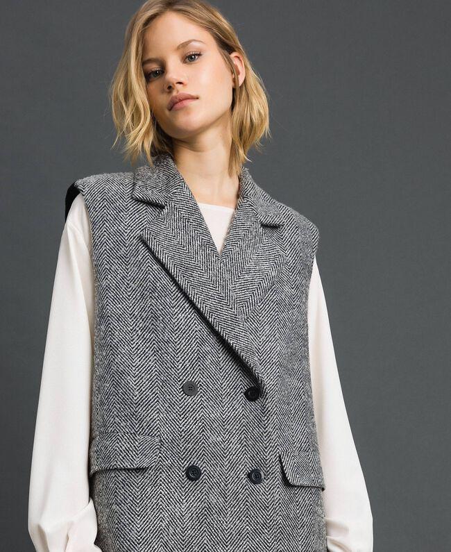 Double breasted chevron wool cloth waistcoat Black Jacquard / Creamy White Woman 192ST2101-01