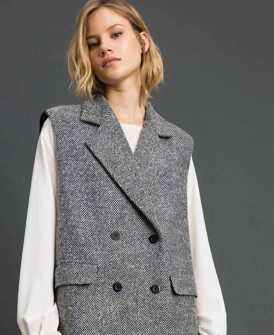 Double breasted chevron wool cloth waistcoat Black Jacquard / Creamy White Woman 192ST2101-01