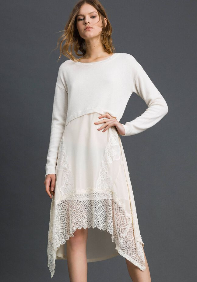 Knitted dress with georgette and lace