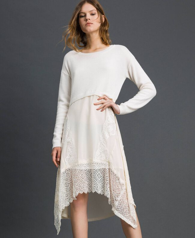 Robe en maille avec crêpe georgette et dentelle Blanc Neige Femme 192TT3081-01