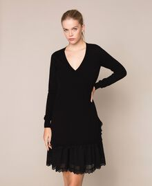 Knitted dress with broderie anglaise flounce Black Woman 201TP3041-01