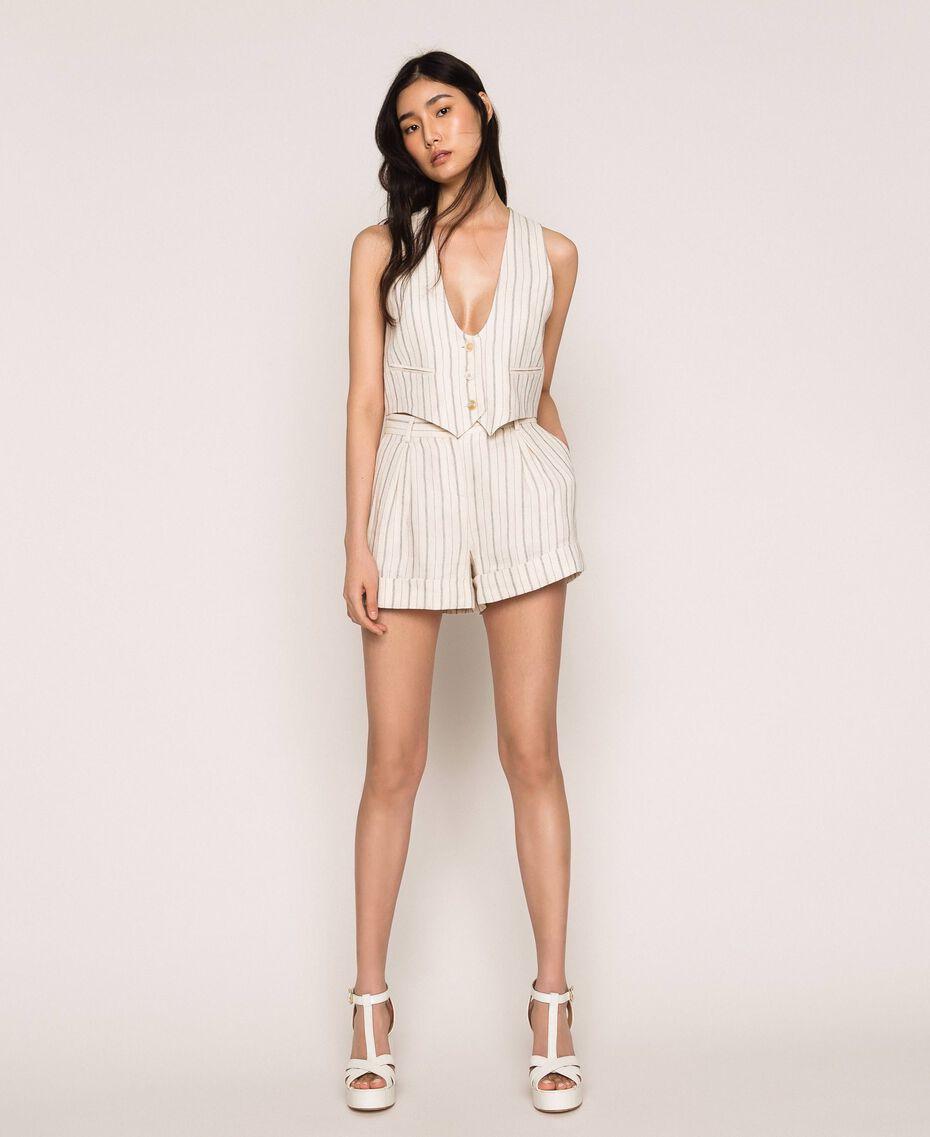 Pin stripe linen shorts Antique White Pin Stripe / Blue Woman 201TT2301-01