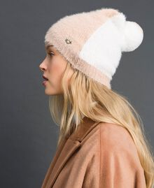 Two-tone fur effect beret Ivory / Nude Beige Woman 192LI4ZNN-0S