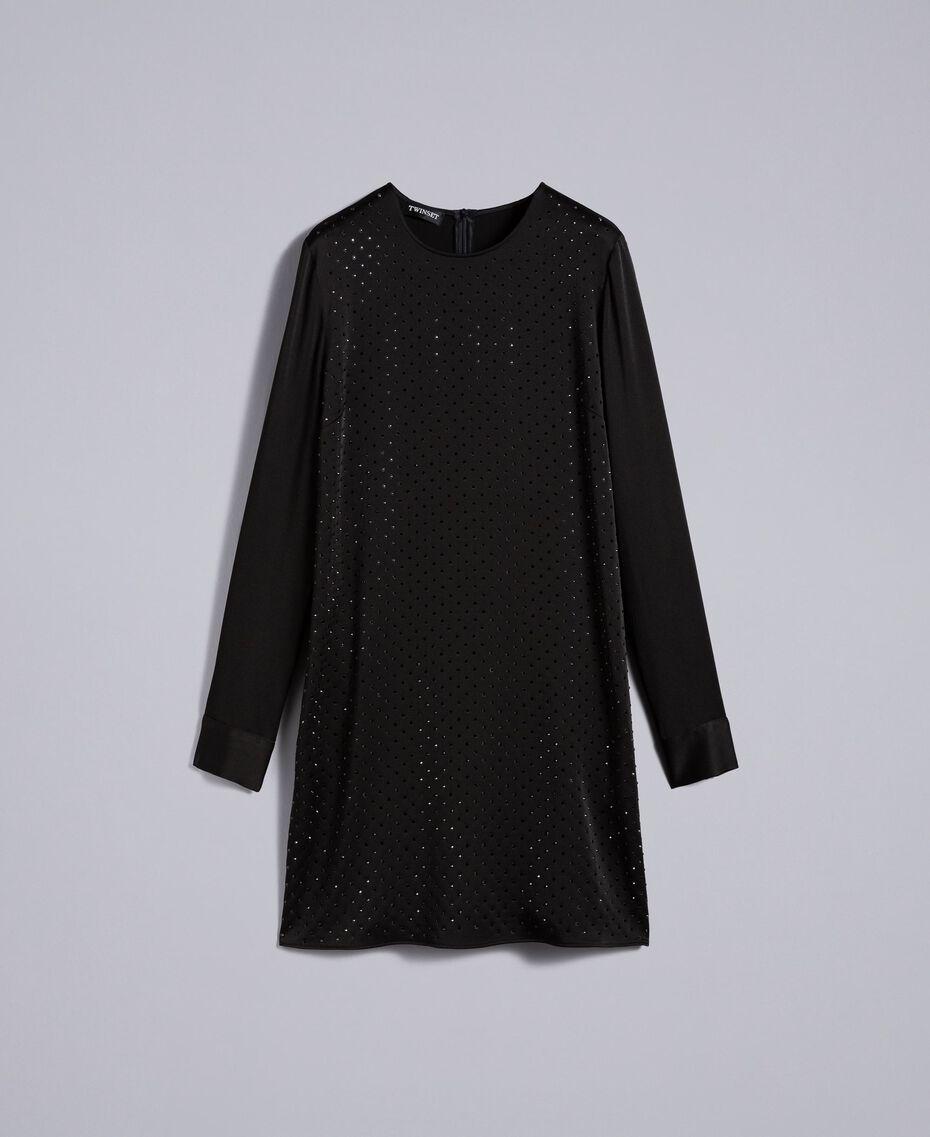 Kleid aus Envers-Satin mit Strass Schwarz Frau TA824N-0S