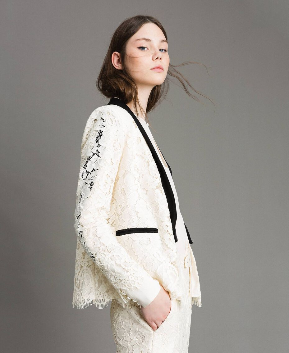 Macramé lace tuxedo jacket White Snow Woman 191TP2254-02