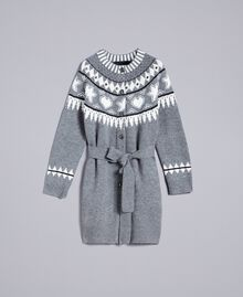 Maxi jacquard cardigan with studs Bicolour Grey Melange / Mother-of-pearl White Woman JA83ED-0S