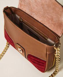 Petit sac à bandoulière Rebel en cuir lisse et cuir velours Multicolore Nude / Rouge Cerise / Cuir Femme 202TB7053-05