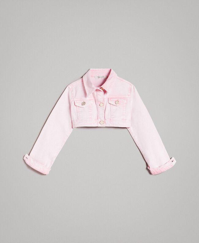 "Bull délavé cropped jacket ""Crystal Pink"" Child 191GJ2492-01"