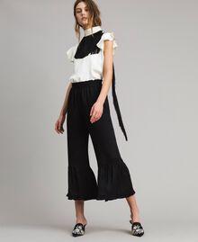 """Fringed belt blouse Bicolour """"Snow"""" White / Black Woman 191TT2384-0T"""