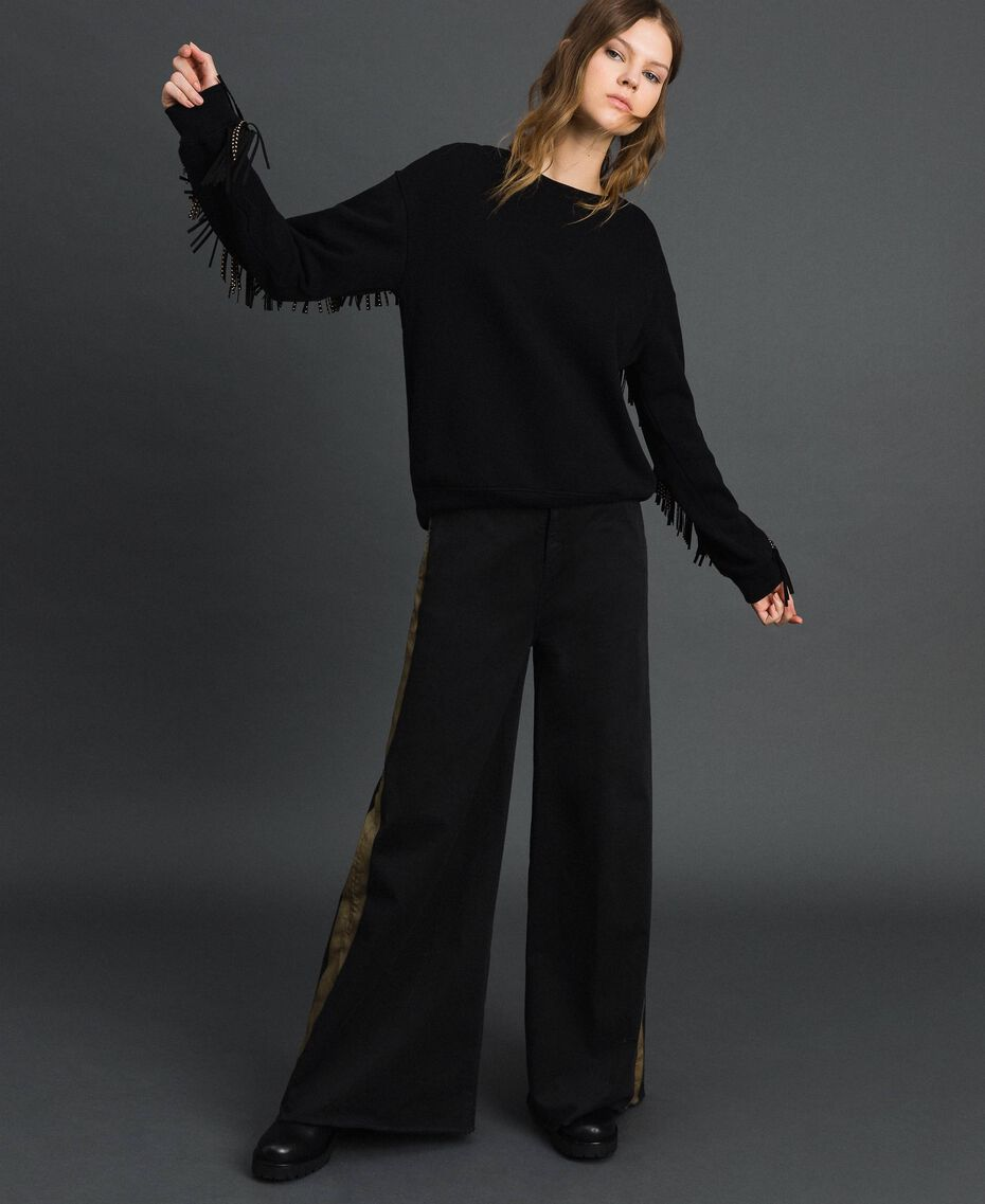 Wide leg trousers with side bands Bicolour Black / Gold Woman 192MP2410-02