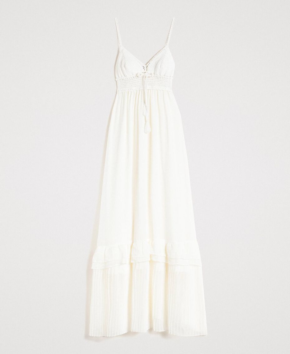 Long dress with crochet top Ivory Woman 191LM2NDD-0S