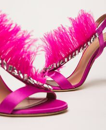 Satin sandals with feathers Nougat Beige Woman 999TCP032-02