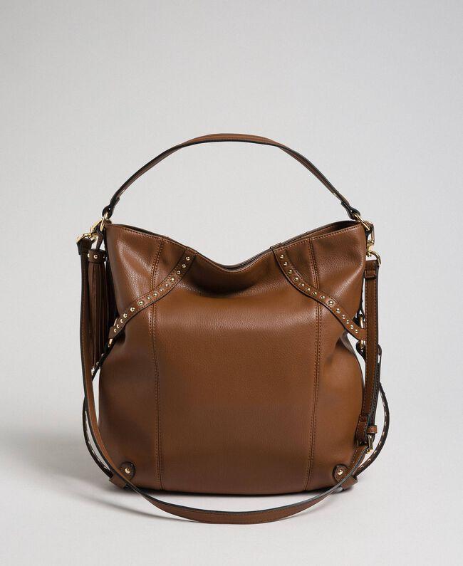 Borsa hobo in similpelle con borchie Cuoio Donna 192TO8161-04