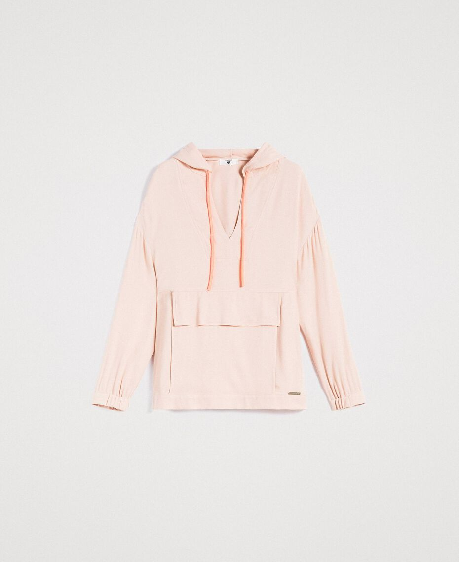 Crêpe sweatshirt with maxi pocket Delicate Pink Woman 191LL23AA-0S