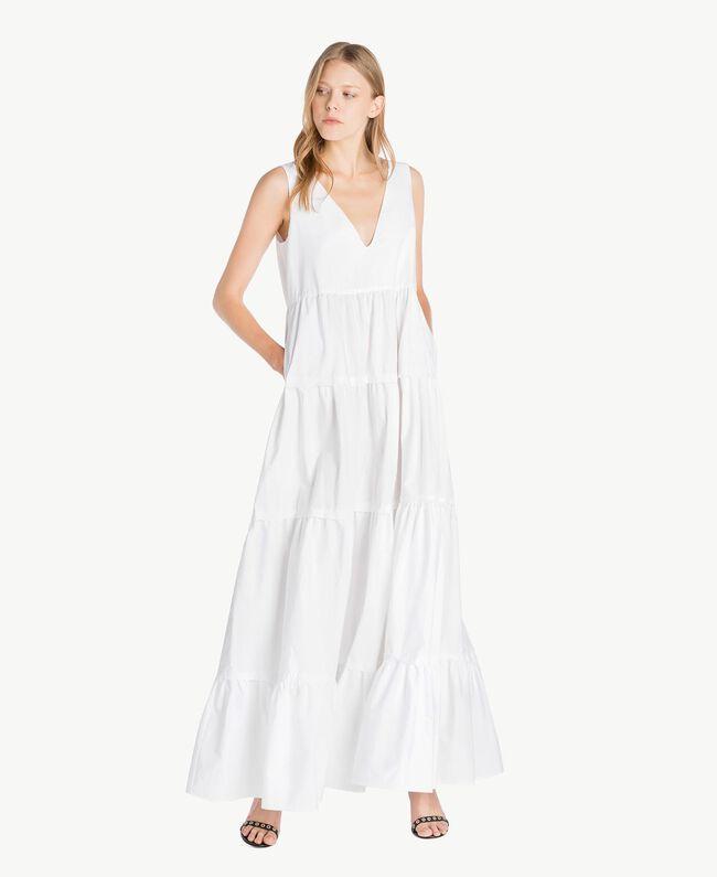 Long poplin dress White Woman TS821Z-04