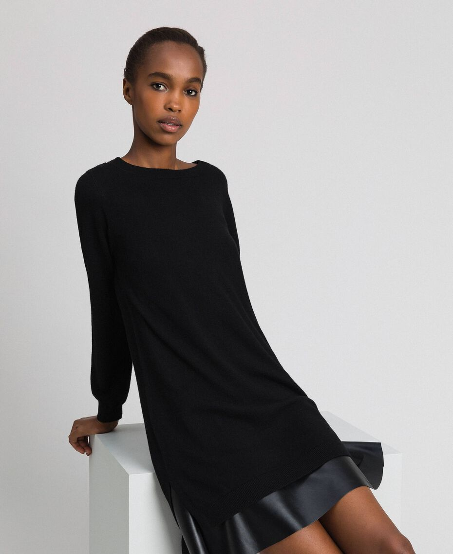 Wool and cashmere dress with faux leather Black Woman 192ST3151-01