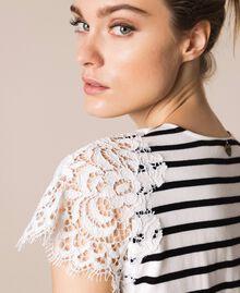 """Полосатая футболка с кружевом макраме Полоска Белый """"Снег"""" / Черный женщина 201TP2470-04"""