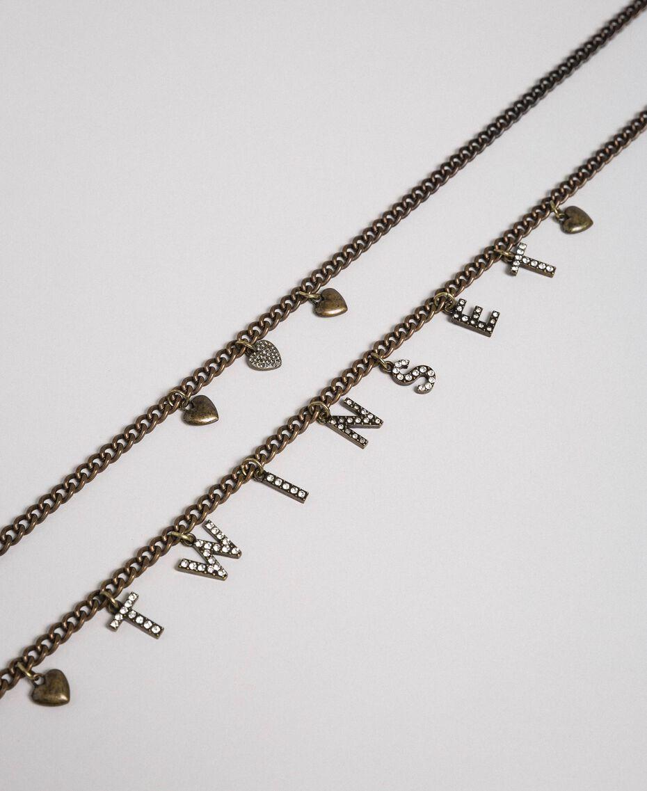 Collier avec rangées de chaîne et pendentifs Bicolore Cristal / Noir Diamant Femme 192TA4369-02