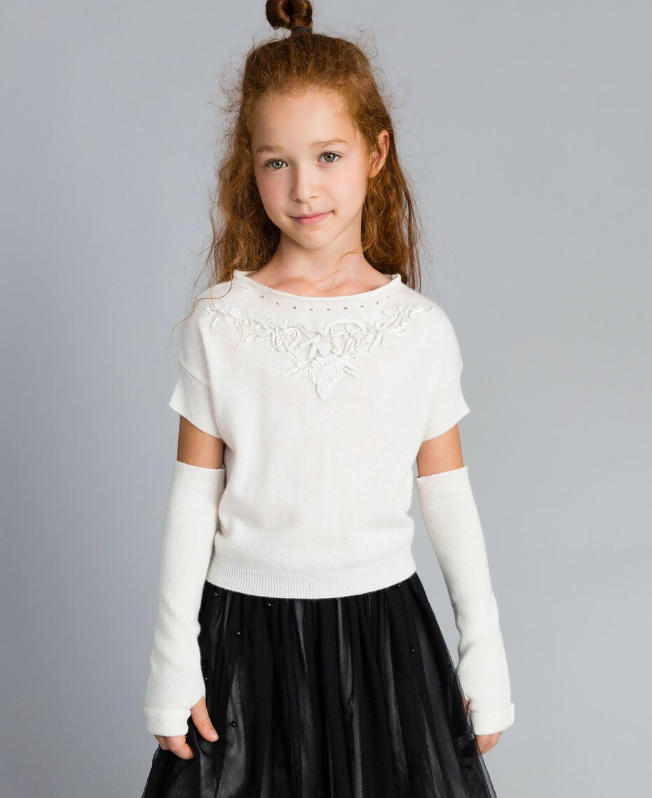Cashmere blend jumper with embroideries Off White Child GA83CB-0S