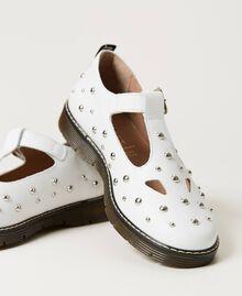 Studded leather ballerina shoes White Snow Child 211GCJ130-02