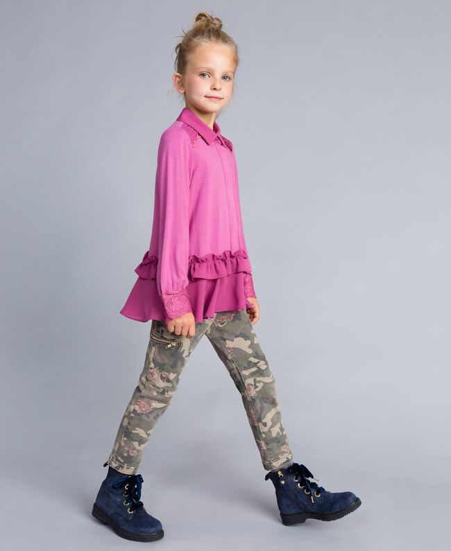 Printed canvas cargo trousers Camouflage Print Child GA82EB-03