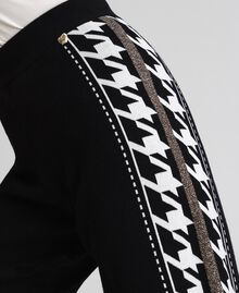 """Jogging trousers with lurex band on the sides Black / """"Vanilla"""" White Woman 192MT3111-04"""