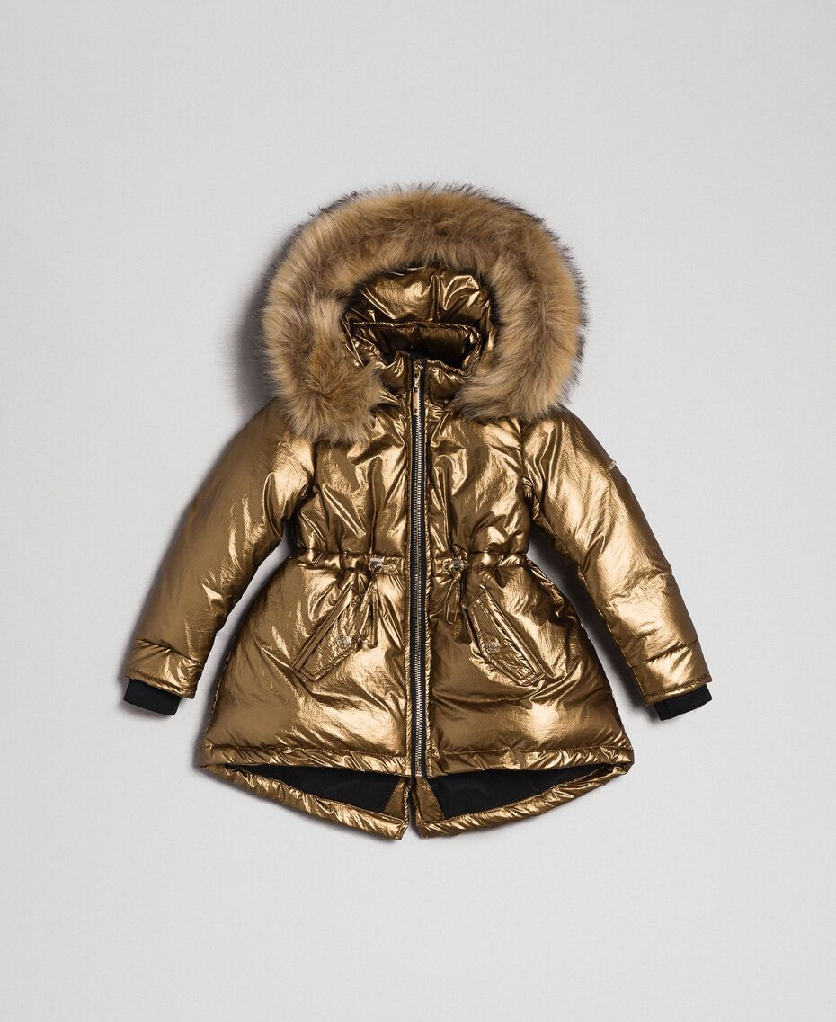 Hooded puffer jacket with faux fur Gold Yellow Child 192GB2070-01