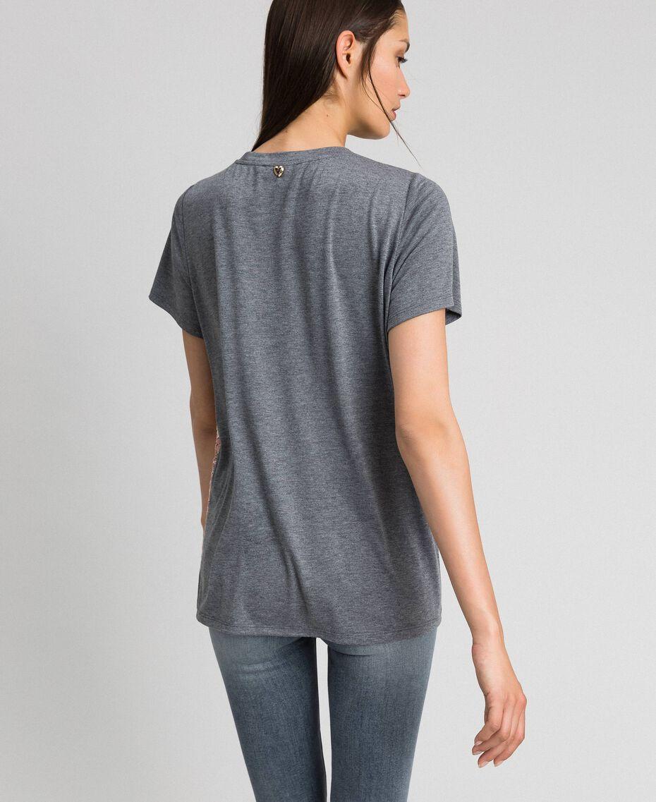 T-Shirt mit Color-Block-Spitze Spitze mehrfarbig Frau 192MP2294-03