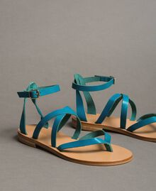 Leather sandals with straps Tile Blue Woman 191TCT09U-01