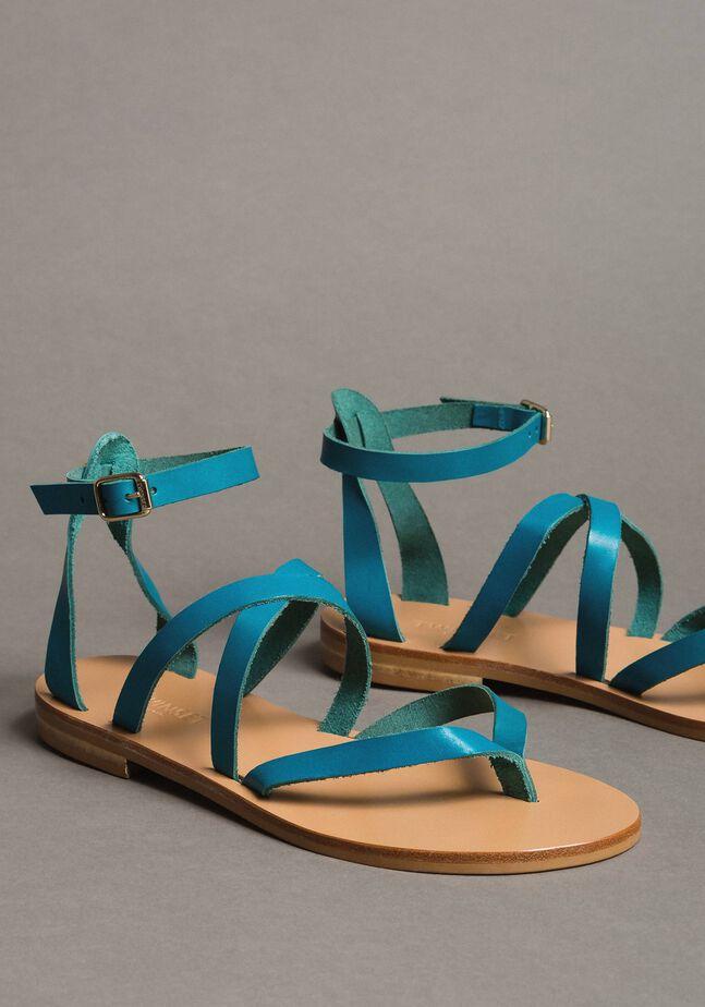 Sandales en cuir aves lanières