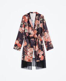 Vestaglia in twill stampata a fiori Stampa Nero Fiore Donna LA8KRR-01