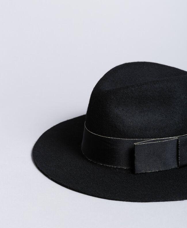 Chapeau avec ruban en contraste Noir Femme OA8T91-01