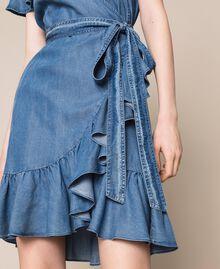 Flowing denim dress with flounce Denim Blue Woman 201MT2193-04