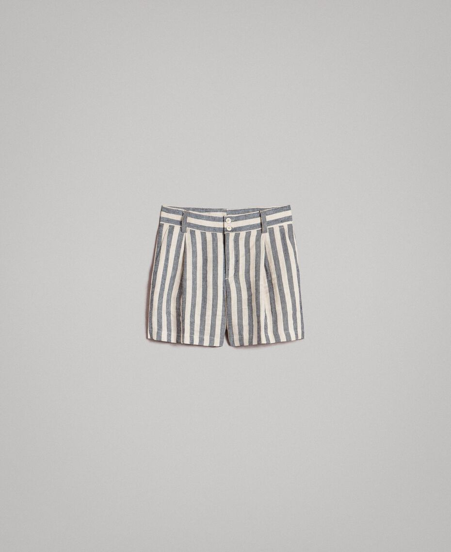 "Two-tone striped linen shorts Two-tone Black / ""Marzipan"" Beige Woman 191TT2312-0S"