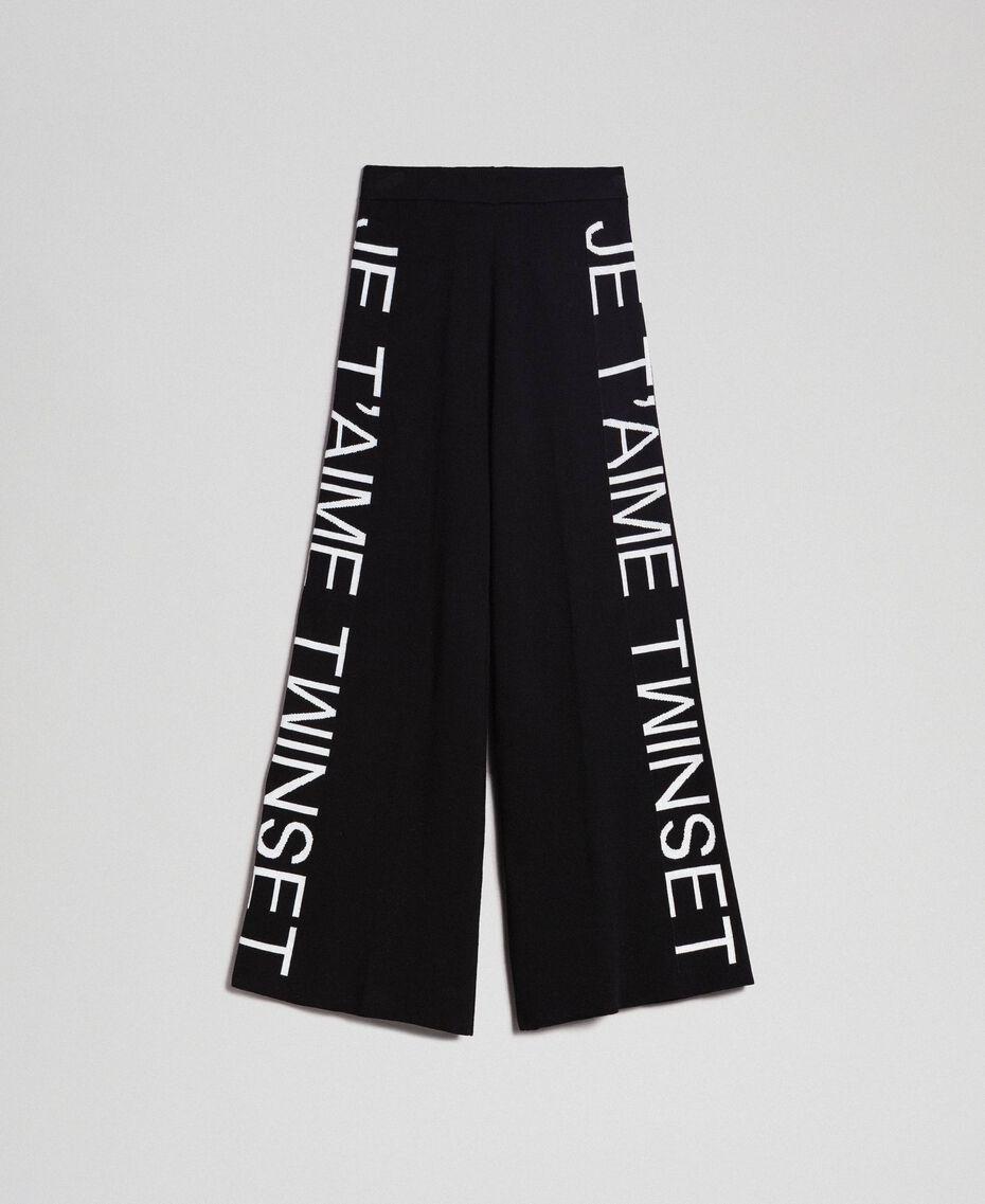 Pantalon palazzo en maille avec logo Jacquard Noir / Blanc Neige Femme 192TP3329-0S