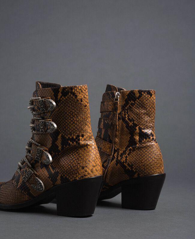 Bottines santiags en cuir imprimé animalier Imprimé Python Brandy Femme 192TCT06E-04