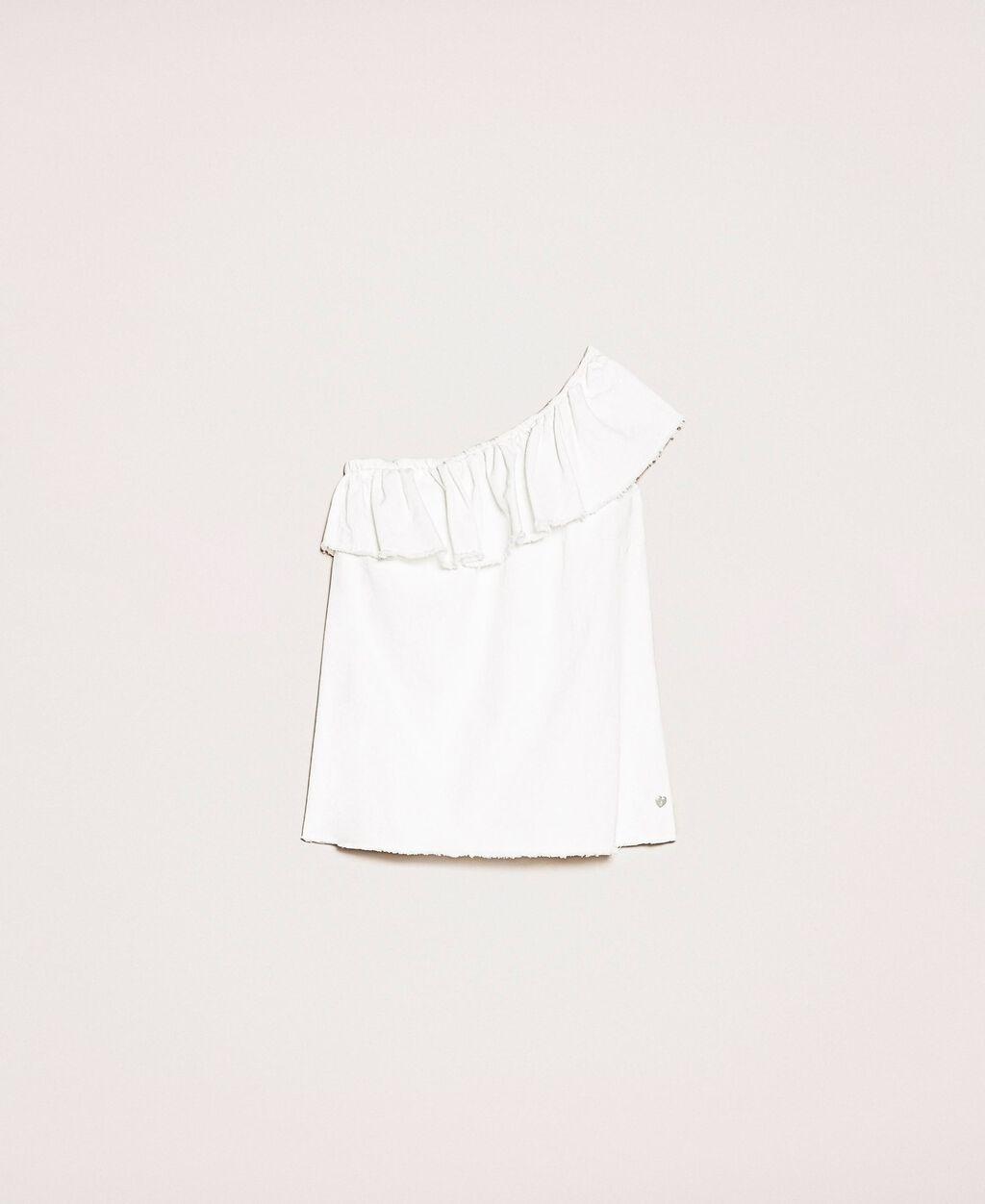 White denim top with ruffles