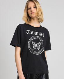 T-shirt con stampa a farfalla e logo Nero Donna 192TP2712-01