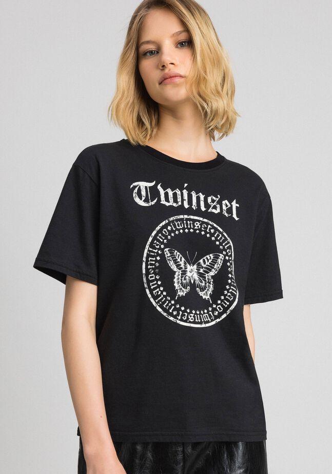 T-shirt avec imprimé papillon et logo